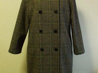 【セール品】ウール素材 前ダブル開き ラウンドネック 着丈98cm 長袖コート 裏地付き M~LL ベージュチェック柄の画像