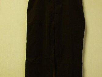 細コーデュロイ素材 両脇ポケット付きストレートパンツ 綿100% M~Lサイズ こげ茶色の画像