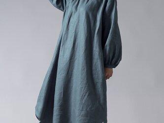 【wafu】中厚 高密度リネン フロントギャザーのスタンドカラードレス綾織リネン 国内織り/アクアマリン a034a-aqm2の画像