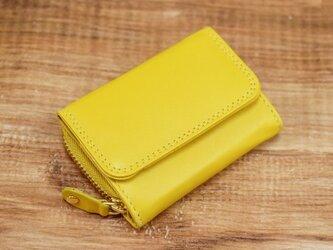大人可愛い パステルカラー 手のひらサイズのミニ財布 【イエロー】の画像