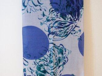 sakira光の庭ストール【ウールラフツイル】華 ブルー SS-W0056BUの画像