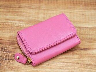 大人可愛い パステルカラー 手のひらサイズのミニ財布 【ピンク】の画像