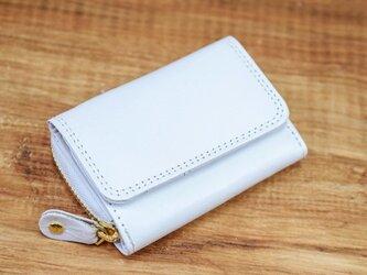 大人可愛い パステルカラー 手のひらサイズのミニ財布 【ホワイト】の画像