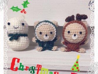 ♪クリスマスくまさん&トナカイさん&雪だるまの編みぐるみセット♪③の画像