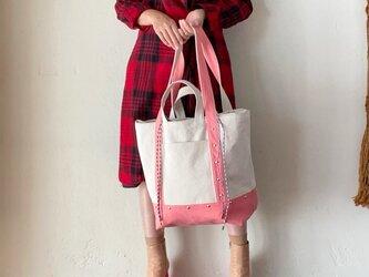 canvas 2way tote bag (pink)の画像