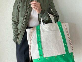 canvas 2way tote bag (green)の画像