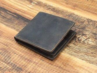 本革 二つ折り財布 コンパクトで薄型 お札仕分け シンプル 【ブラウン】 オールレザー 本革 HAW018の画像