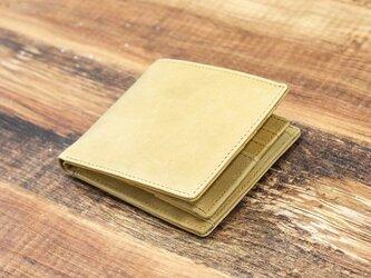 本革 二つ折り財布 コンパクトで薄型 お札仕分け シンプル 【キャメル】 オールレザー 本革 HAW018の画像