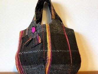 裂き織り マルッコ バック (こげ茶)の画像
