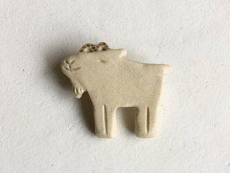 陶ブローチ ヤギの画像