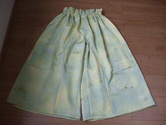 綸子のしっかりした着物からのギャザースカート風パンツ 絹の画像