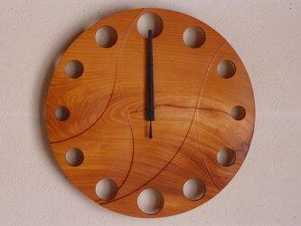無垢の木の電波掛け時計 けやき 0087の画像