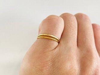 K24 +K18 Gold Ring Set◇純金とK18リング重ねづけセットの画像