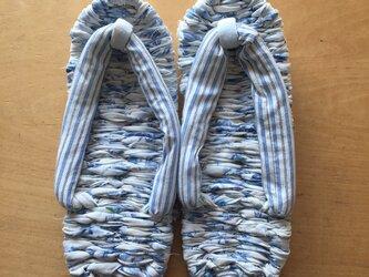 布ぞうり 鼻緒:ブルー・ストライプ 花柄・綿 24~25cmの画像