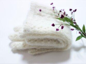 【受注制作】W/アルパカ/レース手袋(ホワイト)の画像