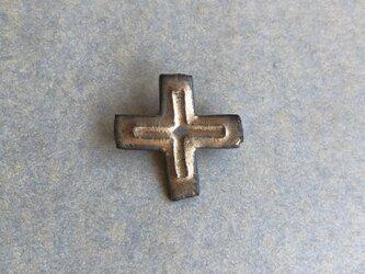 陶ブローチ ブロンズ「十字」の画像