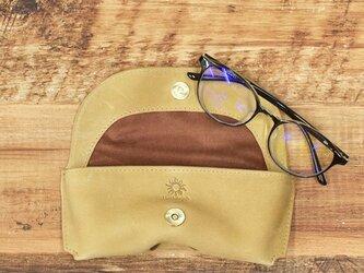 メガネケース しっとりとした質感 シャープなフォルム 牛革 本革 ギフト 名入れ可 【キャメル】HAK046の画像