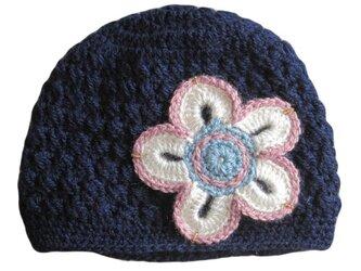 パステルカラーのお花の帽子の画像