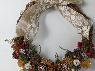 ツルのクリスマスリースの画像