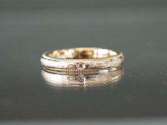 【受注製作】K18YG 槌目ミル打ちダイヤモンドリングの画像