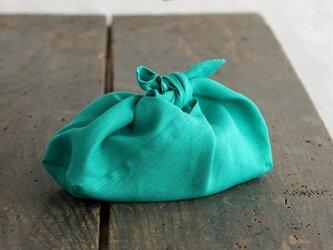 alinのあづま袋 S お弁当包み リネンあずま袋 マチ付き (ピーコックグリーン)の画像