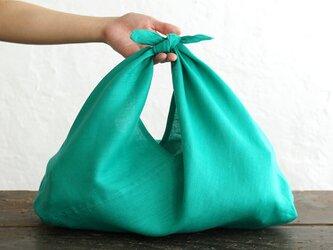 alinのあづま袋 M 50cm かごバッグに リネンあずま袋 マチ付き  (ピーコックグリーン)の画像