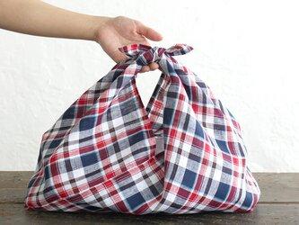 alinのあづま袋 M 50cm かごバッグに リネンあずま袋 マチ付き  (マドラスチェック)の画像