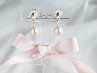 ドロップパールイヤリングgold 色:ピンクの画像
