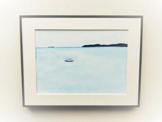 原画「穏やかな海」水彩イラスト  ※額縁入り【送料無料】の画像