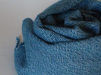 手織りカシミアストール・・氷の葉っぱの画像