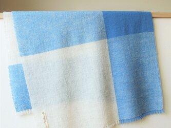 ホームスパン大判ストール 生成り×ブルーの画像