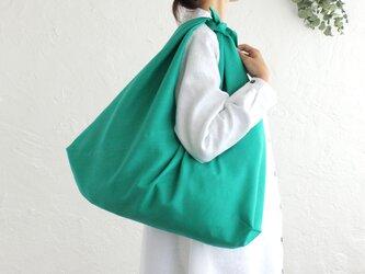 alinのあづま袋 L 65cm エコバッグに リネンあずま袋 マチ付き (ピーコックグリーン)の画像