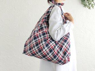 alinのあづま袋 L 65cm エコバッグに リネンあずま袋 マチ付き (マドラスチェック)の画像