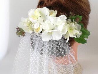 白◇あじさい◇アナベル【ヘッドドレス】ホワイト white hydrangea headdressの画像
