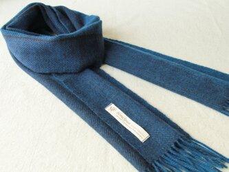 ホームスパン・カシミヤマフラー ブルー・紺の画像