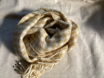 <初めてのカシミヤ> よもぎ染め 千鳥格子 ハーブ染め 手織りの画像