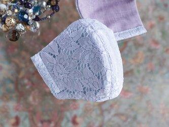 PSNY 送料無料 夏仕様 レース ラベンダー 花粉 黄砂 不織布フィルター入り 高級 上品 マスク アークラベ-LA4の画像