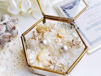 natural white リングピロー  ガラスケースの画像
