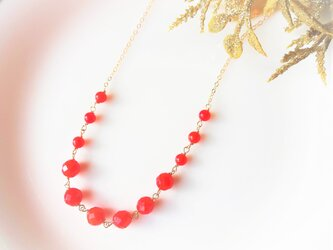 14kgf 赤珊瑚のチェーンネックレスの画像
