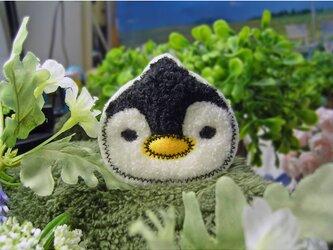 ★新ペンギン★もこもこワッペン★アイロン★白黒1枚-6bの画像