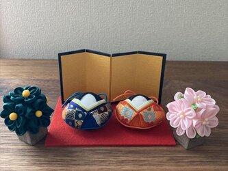 o様ご検討分 貝雛 ミニ親王飾り(桜橘付)の画像