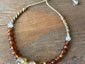 黄金色の天然石ブレスレット ルチル水晶、シトリン、オレンジガーネットの画像