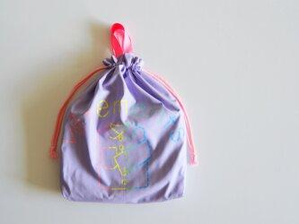 持ち手つき 体操着入れ お着替え巾着袋 新色 レインボーパープル 「vêtements」入園入学グッズ   の画像