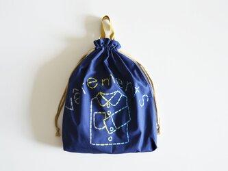 持ち手つき 体操着入れ お着替え巾着袋 新色 レインボーネイビー 「vêtements」入園入学グッズ   の画像