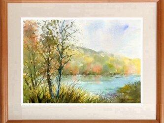 水彩画原画 紅葉の湖畔 #440の画像