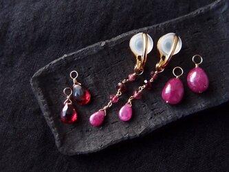 【K14gf/silver】フープイヤリング 3チャームセット/pinkの画像