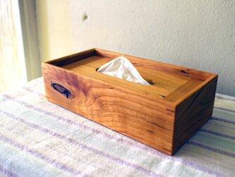 家具職人の作る ティッシュケース 「ケヤキ 節有り」 一品物の画像