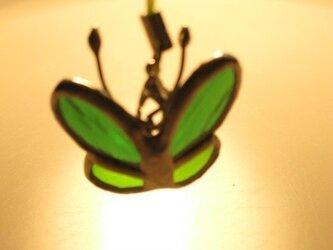 羽ばたく蝶のキーホルダー(エバー&ライムグリーン)の画像