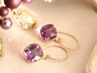 ピンクアメジスト ダイヤカットのピアス~Pink Amesyst Faseted cut Earringsの画像