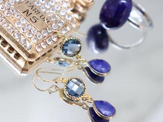 ラピスラズリ ドロップベゼル~Lapislazuli&Glass Earringsの画像